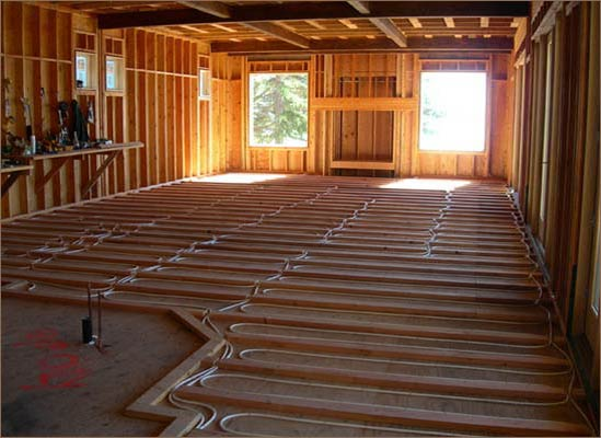In floor heat installation